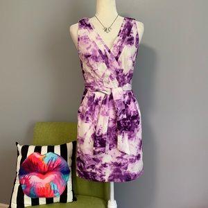 Banana Republic Purple Abstract Pleated Dress D1